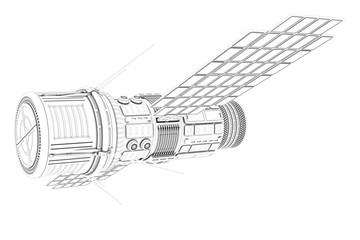 3D illustration of Sci Fi Futuristic Satellite on the white background