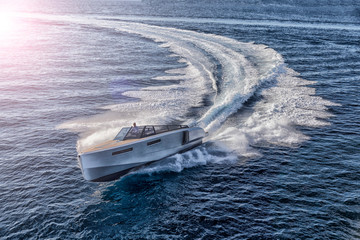 luxury motor boat, aerial view
