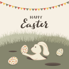 Happy Easter Rabbit in Hole with Eggs