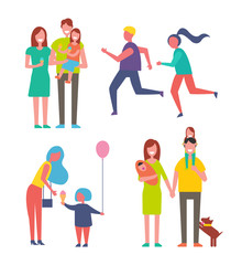 Parenthood family and couple icons set. Mother and son holding air balloon, people running jogging. Parents holding daughter with ice cream vector