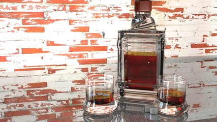 3Drender, Three dimensional illustration of whiskey in a glass. Backgrounds