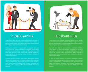 Paparazzi and still life photographer web bright banners set. Celebrities couple at red carpet , fruits near teapot on table vector illustrations.
