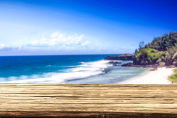 Table background of free space and summer landscape of sea and sky