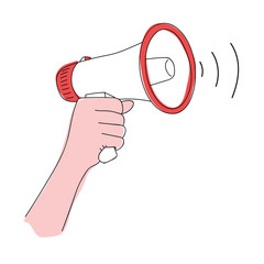 Megaphone in hand vector illustration. Loudspeaker in hand. Comic book style imitation.