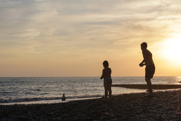 Silhouettes of children at sunset, feeding a seagull, against the background of the sea.