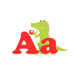 Alphabet for children, letter A, alligator, vector illustration.