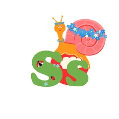 Alphabet for children, letter s, snail, vector illustration.