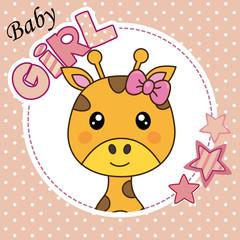Baby girl shower card. Cute giraffe