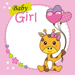 Baby girl shower card. Cute giraffe with balloons. Space for text