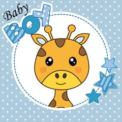 Baby boy shower card. Cute giraffe