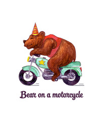 Watercolor illustration fun bear on a motorcycle isolated on white background. Circus, show, performance.