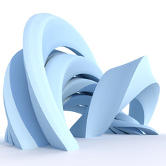Abstract blue curved sculpture