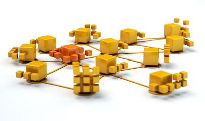 computer  network orange and yellow