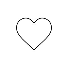 Flat line monochrome heart icon for web sites and apps. Minimal simple black and white heart icon. Isolated vector black heart icon on white background.