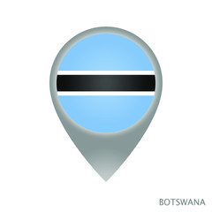 Map pointer with flag of Botswana. Colorful pointer icon for map. Vector Illustration.