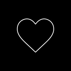 Flat line monochrome heart icon for web sites and apps. Minimal simple black and white heart icon. Isolated vector white heart icon on black background.