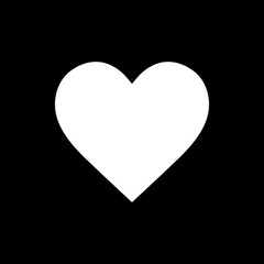 Flat monochrome heart symbol for web sites and apps. Minimal simple black and white heart symbol. Isolated vector white heart symbol on black background.