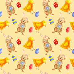 seamless watercolor pattern for Easter with different elements: Easter rabbit, chicken, eggs. ideal for fabric, wrapping paper, decor