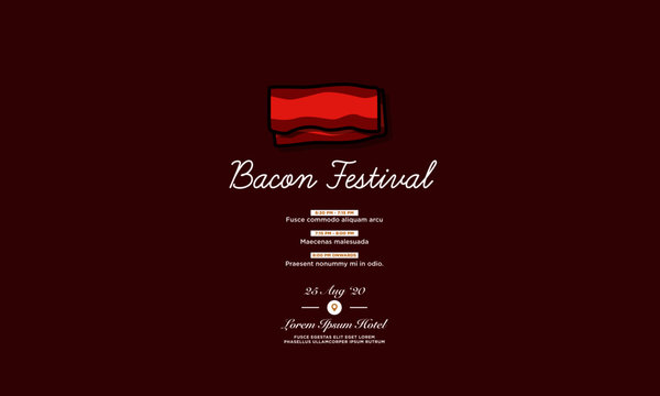 Bacon Festival Invitation Design with When and Where Details