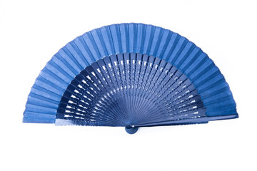 Open dark blue fan on white isolated background.