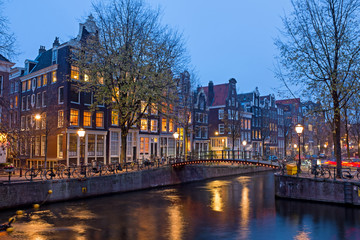 Aluminium Prints Autumn City scenic from Amsterdam in the Netherlands at sunset