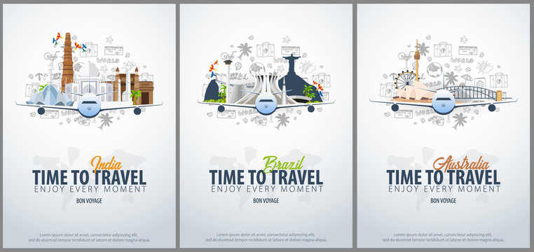 Travel to India, Brazil and Australia. Time to Travel. Banner with airplane and hand-draw doodles on the background. Vector Illustration.