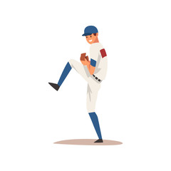 Smiling Baseball Player, Softball Athlete Character in Uniform Vector Illustration