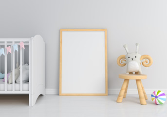 Blank photo frame for mockup and wood chair on floor, 3D rendering