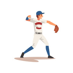 Pitcher Throwing Ball, Baseball Player Character in Uniform Vector Illustration