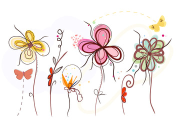 Cute hand drawn abstract vibrant colored Spring time flowers. Spring time blossom background