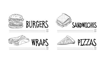 Hand drawn menu of fast food cafe. Sketch vector illustration of tasty burger, wraps, sandwich and pizza slice