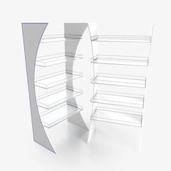 Empty store shelves. Retail shelf rack. Showcase display. Mockup template ready for design. 3d rendering.