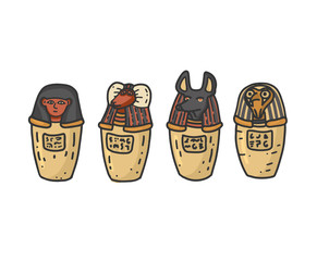 Fototapeta Canopic jars - ancient egyptian elements using for mummification. Isolated vector illustration in doodle hand drawn style. obraz