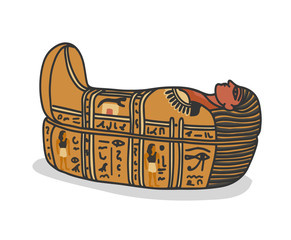 Fototapeta Ancient egyptian sarcophagus, tomb for pharaons mummy. Isolated vector illustration in doodle hand drawn style. obraz
