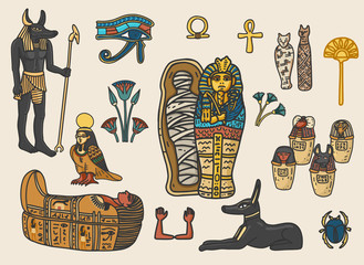 Fototapeta Set of ancient egyptian religion and cultural elements including sarcophagus, eye of horus, mummy, scarab, anubis, canopic jars; ka; ba; floral decoration elements. Isolated vector illustration. obraz