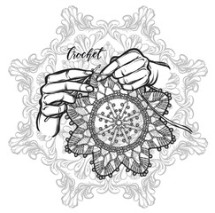 Vector illustration crochet napkins. Handmade, prints on T-shirts, tattoos,coloring for children and adults,background mandala