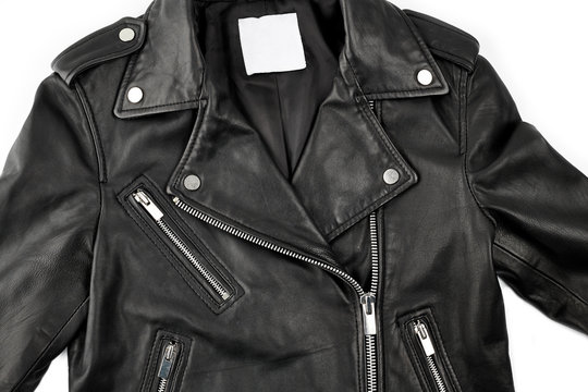 black leather punk jacket textured. biker jacket. Leather fabric texture