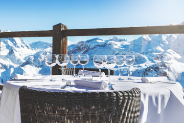 luxury restaurant table with beautiful landscape view in alpine mountains