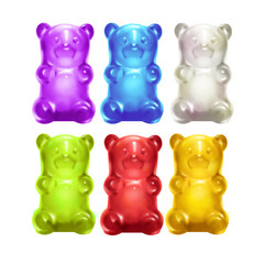 Gummy Bears. Colored sweet jelly marmalade teddy bears. Realistic illustration.