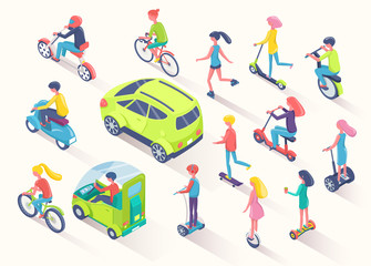 Ecotransport people using eco friendly cars and auto vector. Men and women riding bicycles and scooters to eliminate pollution of air, bikers with helmet, flat style