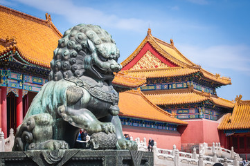 Poster Peking Lion statue in front of Gate of Supreme Harmony in Forbidden City, main tourist attraction of Beijing city, China