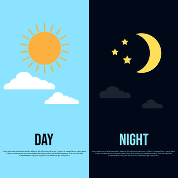 Day and night theme with sun, moon, stars and clouds