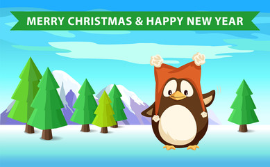 Penguin in forest, Merry Christmas and Happy New Year holidays, firs and spruces, mountain and wild nature, arctic bird in funny hat with bubo vector
