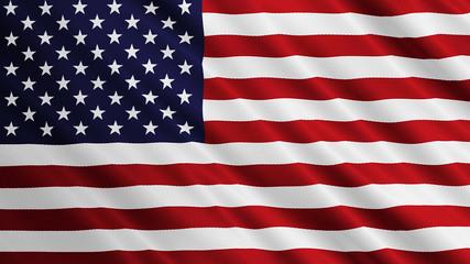 USA flag is waving. United States of America symbol illustration.
