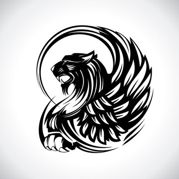 Griffin for heraldry or tattoo, vector design