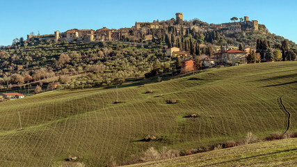 Panoramic view of the beautiful medieval village of Monticchiello, Siena, Tuscany, Italy