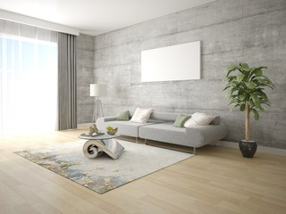 Mock up bright living room with a compact comfortable sofa and a trendy hipster backdrop.