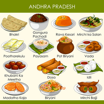 illustration of delicious traditional food of Andhra Pradesh India