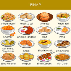 illustration of delicious traditional food of Bihar India