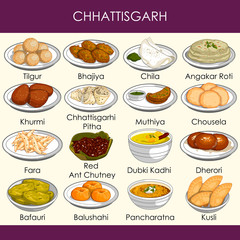 illustration of delicious traditional food of Chhattisgarh India